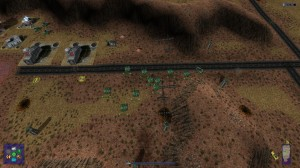 A shot from one of the earlier missions taking place in a desert area.